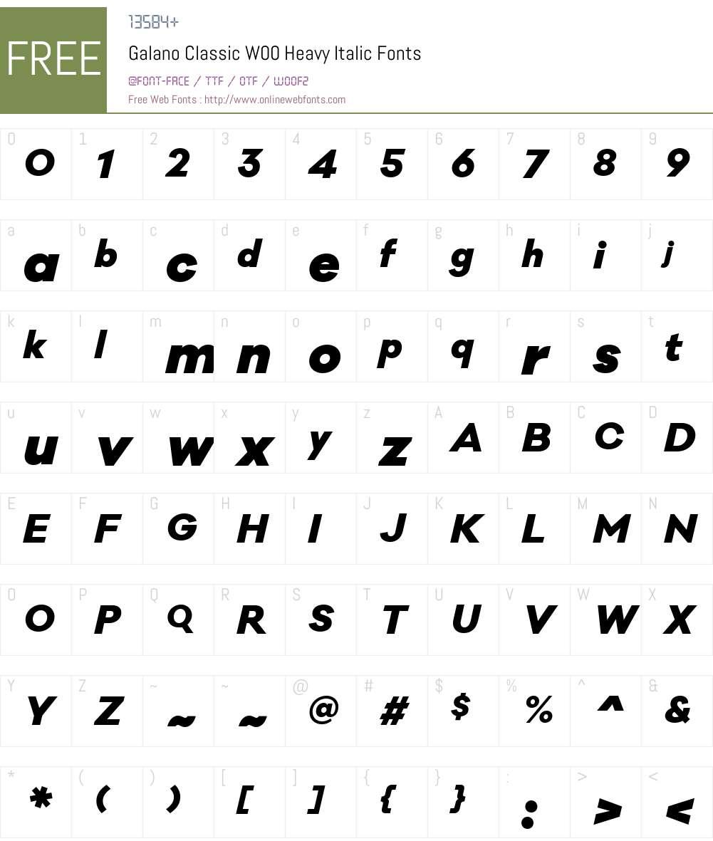 GalanoClassicW00-HeavyIt Font Screenshots