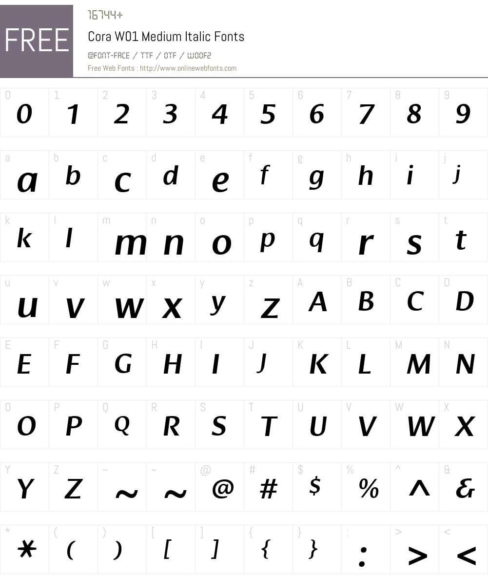 CoraW01-MediumItalic Font Screenshots