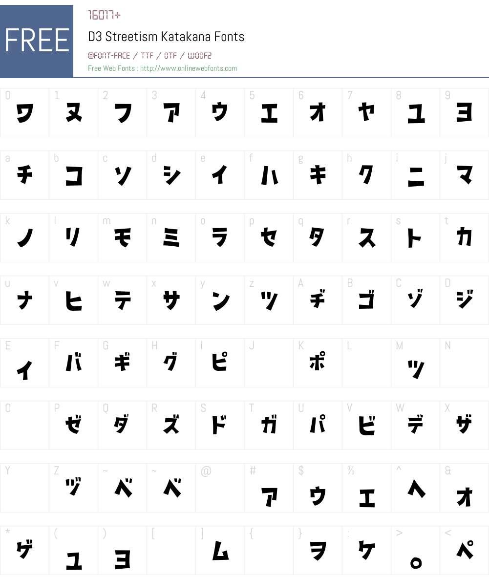 D3 Streetism Katakana Font Screenshots