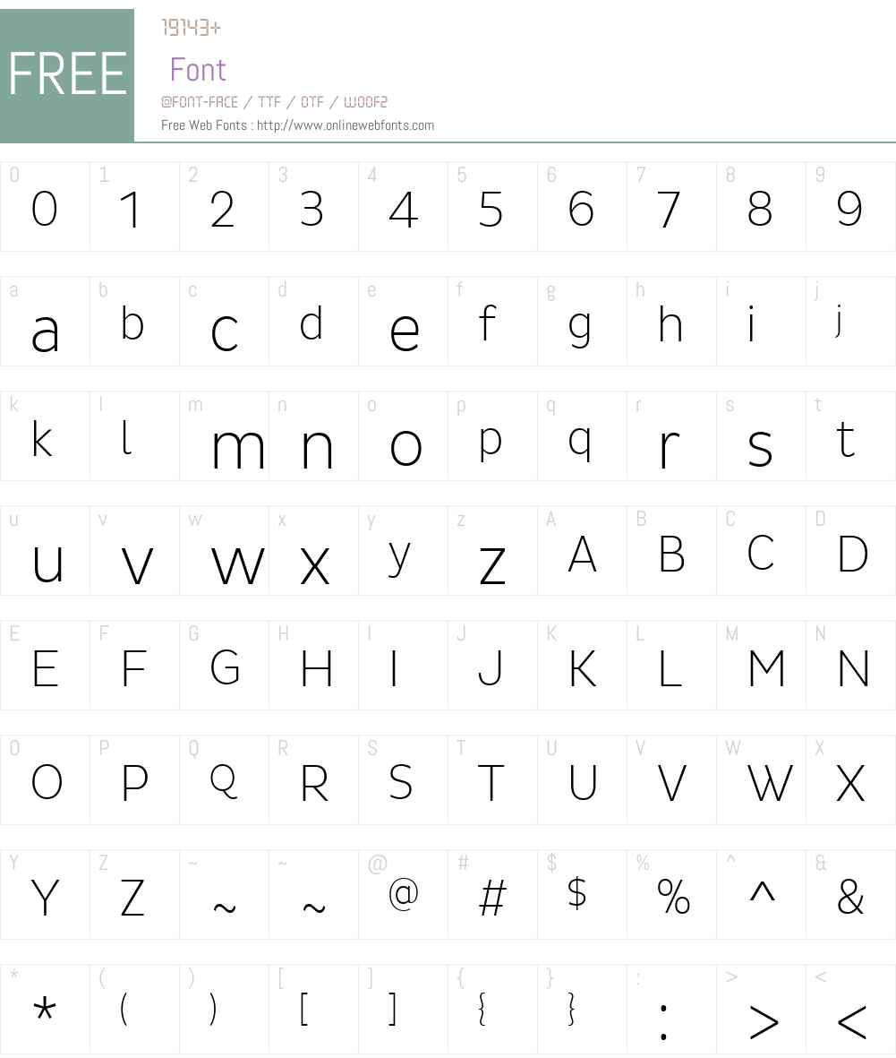 PlutoSansW01-CondExtraLight Font Screenshots