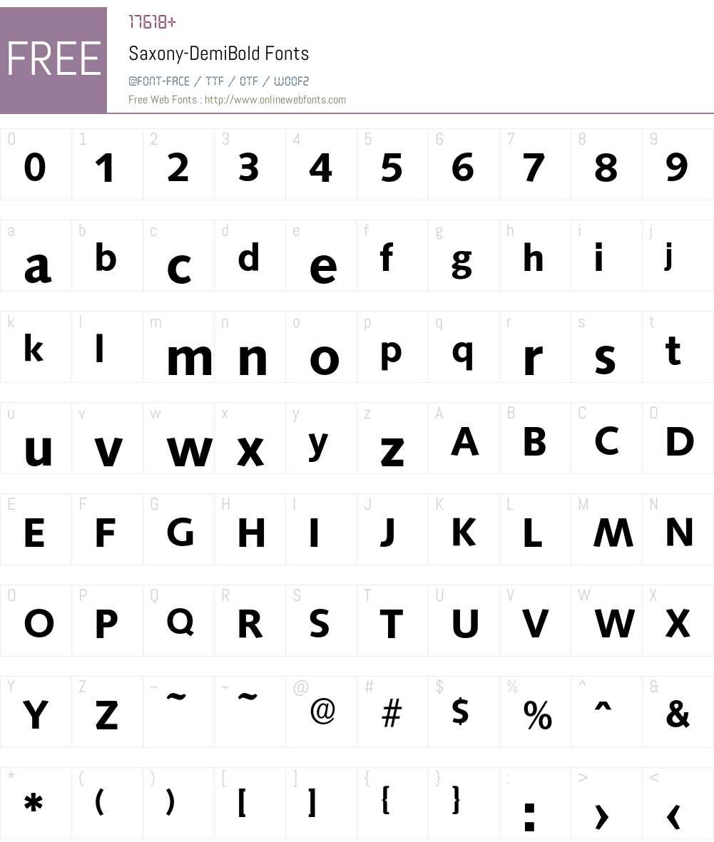 Saxony-DemiBold Font Screenshots