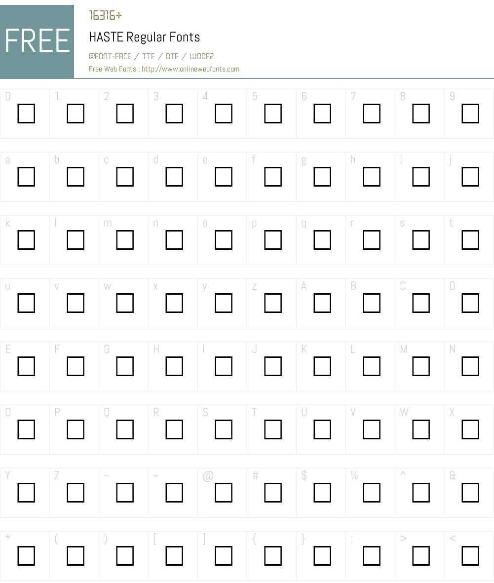 HASTE Font Screenshots