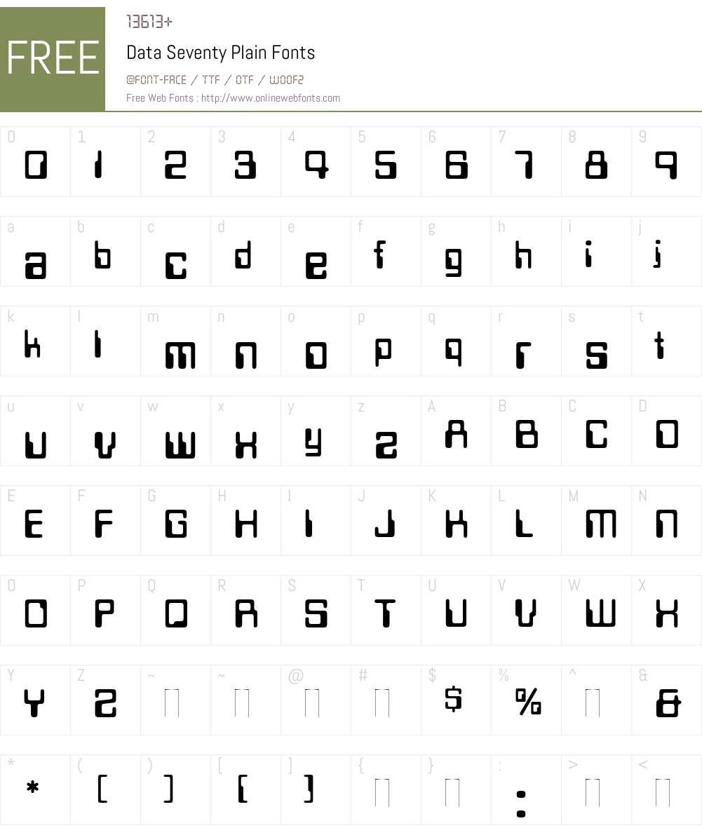 Data Seventy Font Screenshots