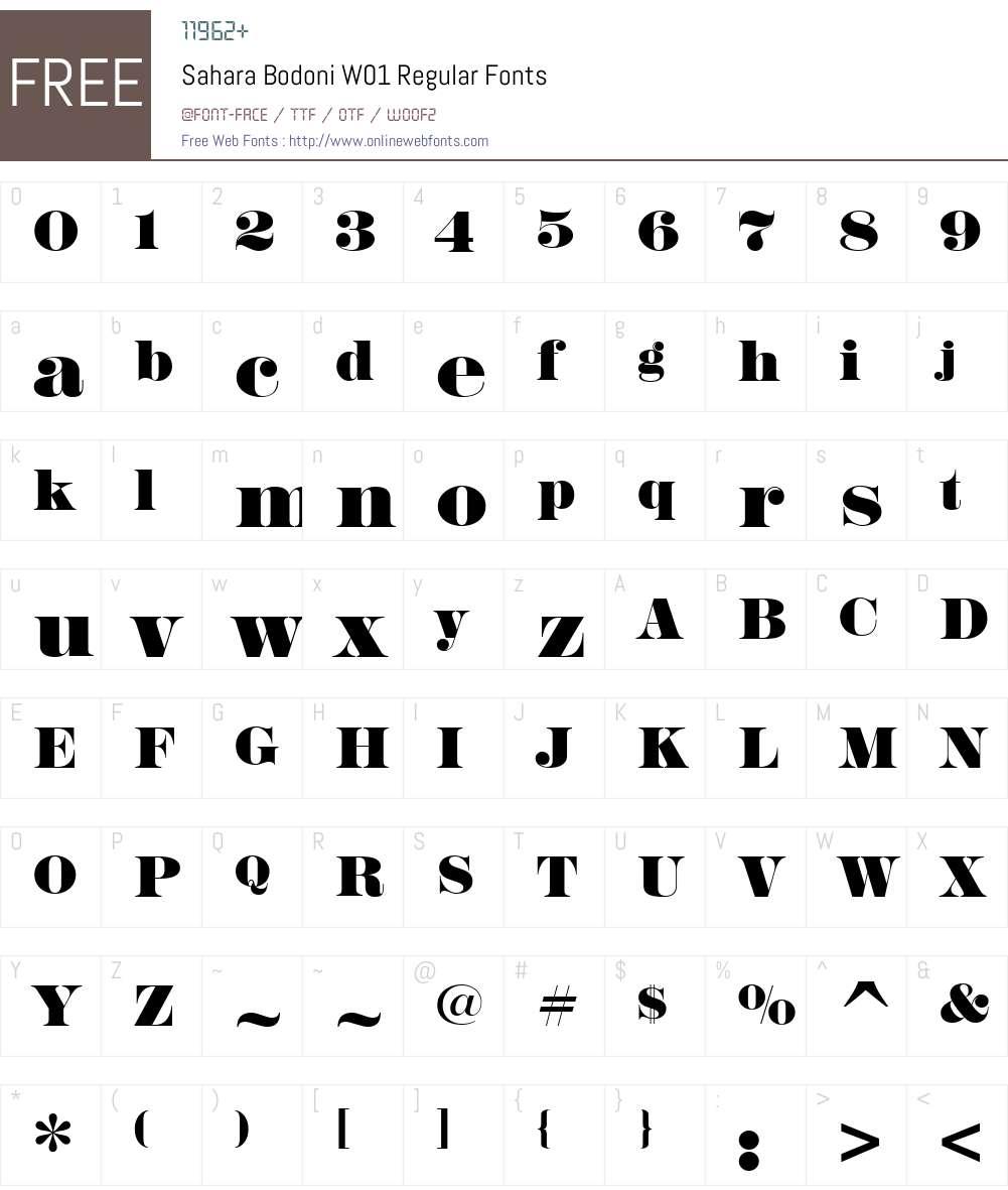 SaharaBodoniW01-Regular Font Screenshots