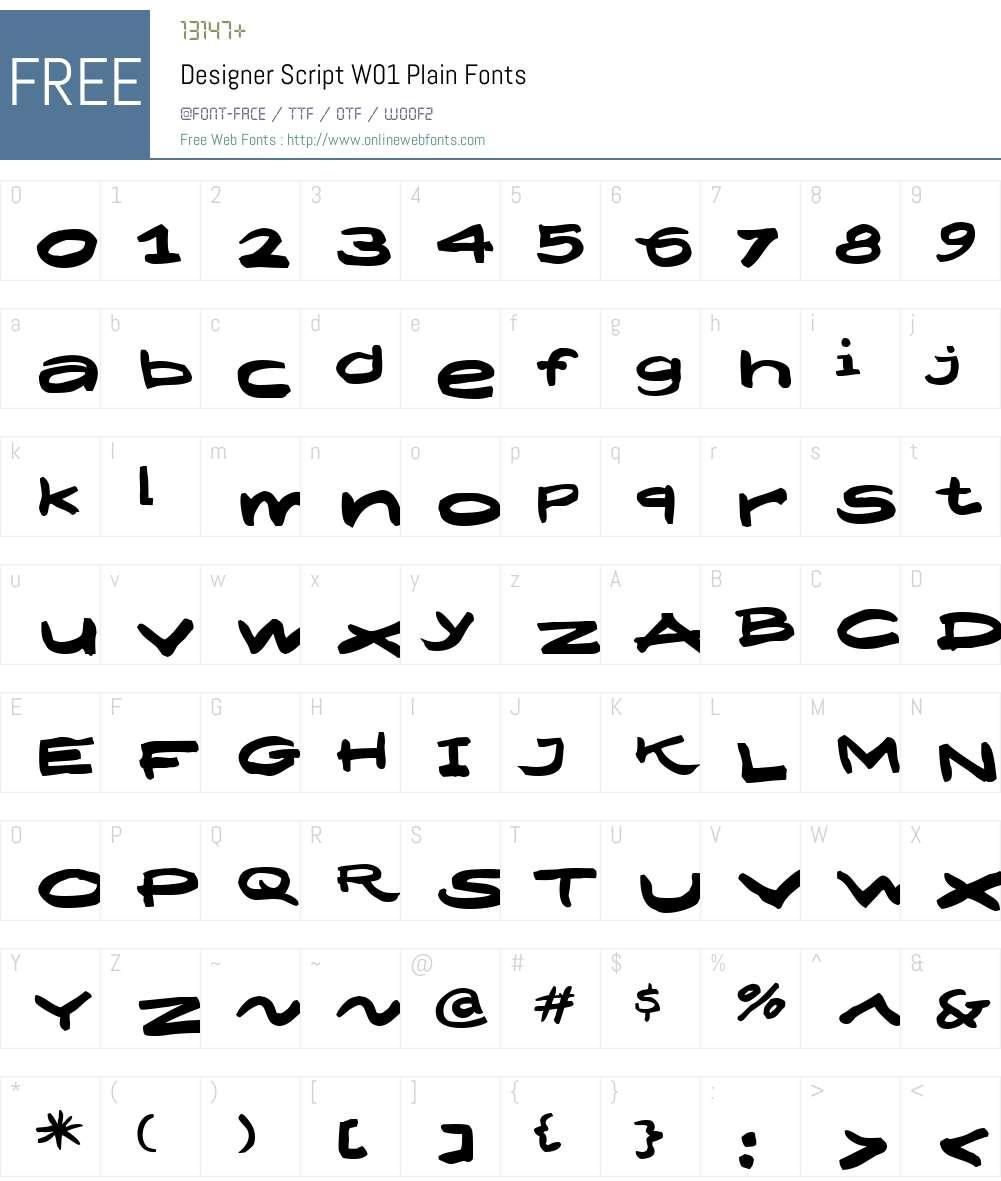 DesignerScriptW01-Plain Font Screenshots