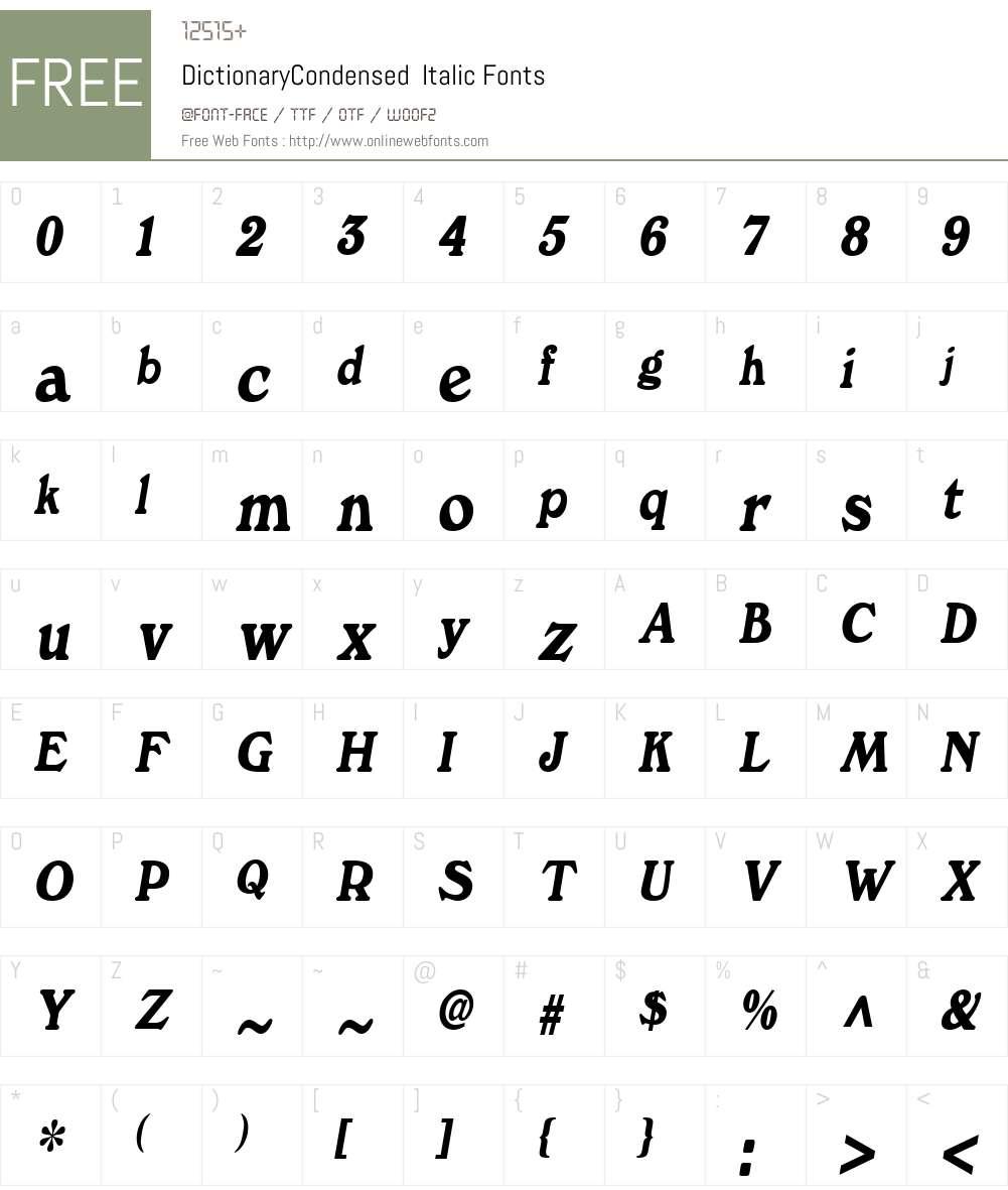 DictionaryCondensed Font Screenshots