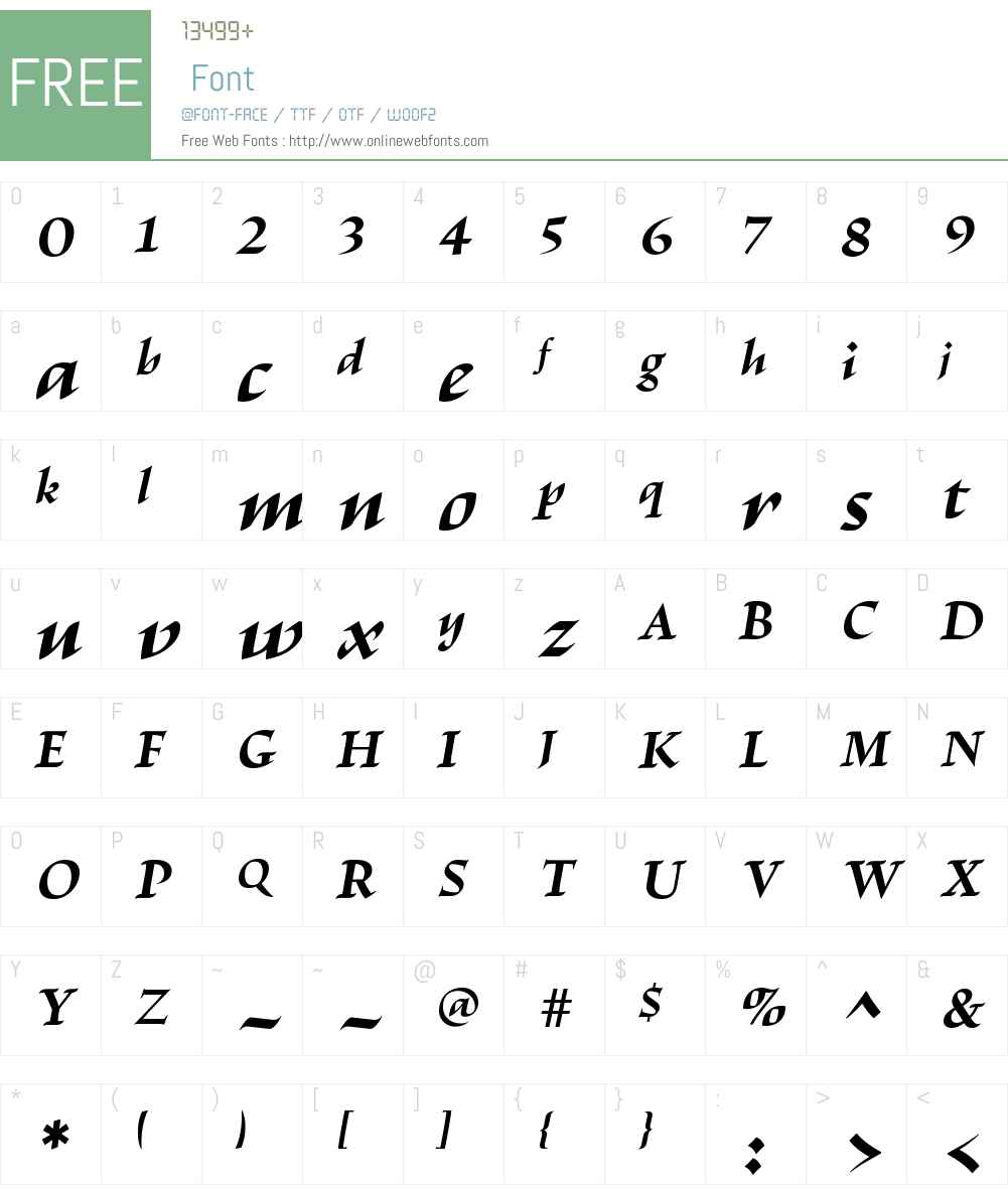 EscrituraW00-BoldItalic Font Screenshots