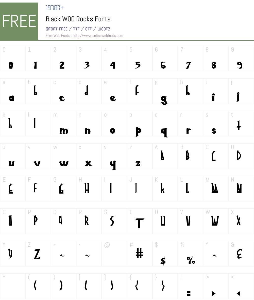 BlackW00-Rocks Font Screenshots
