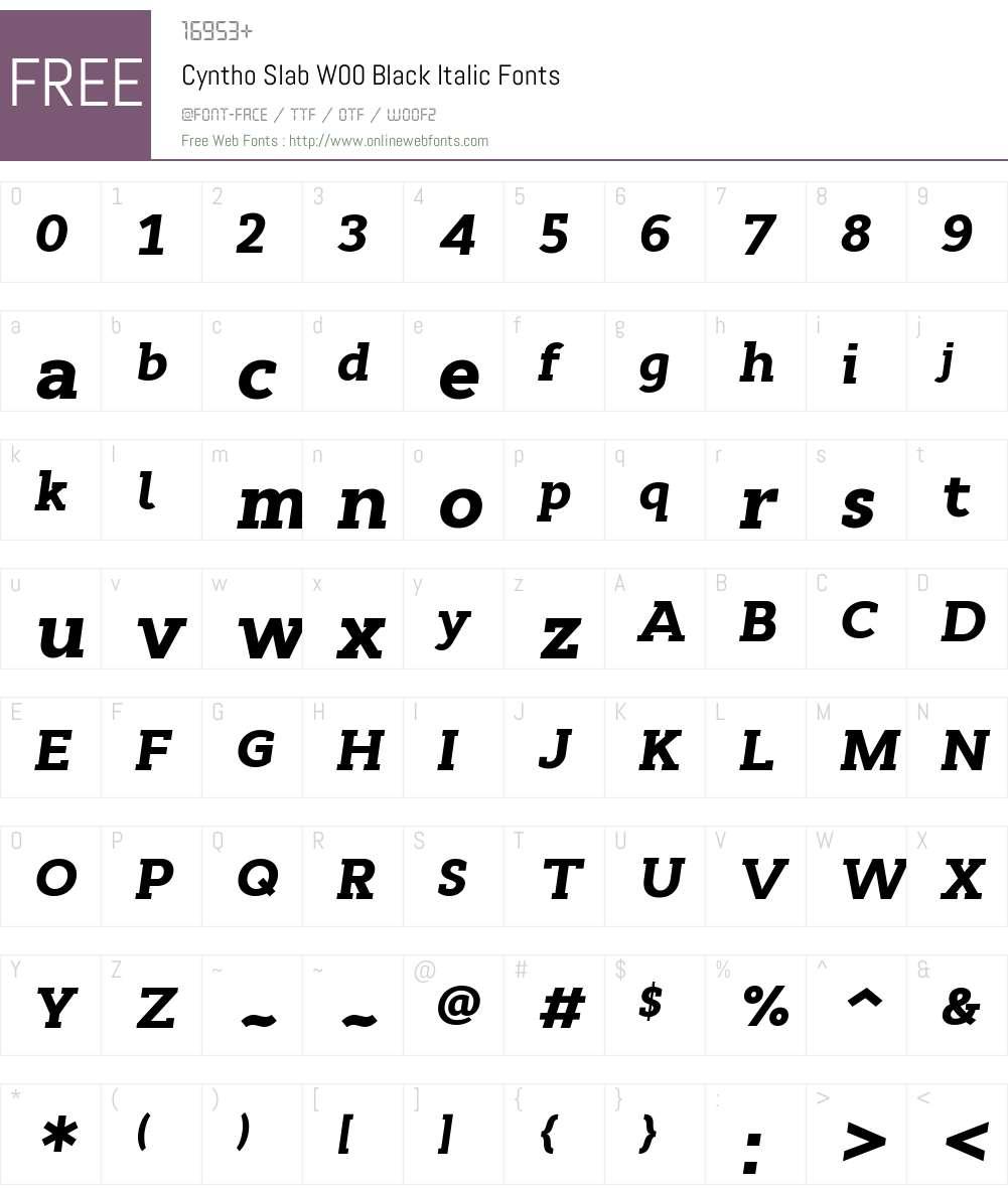 CynthoSlabW00-BlackItalic Font Screenshots