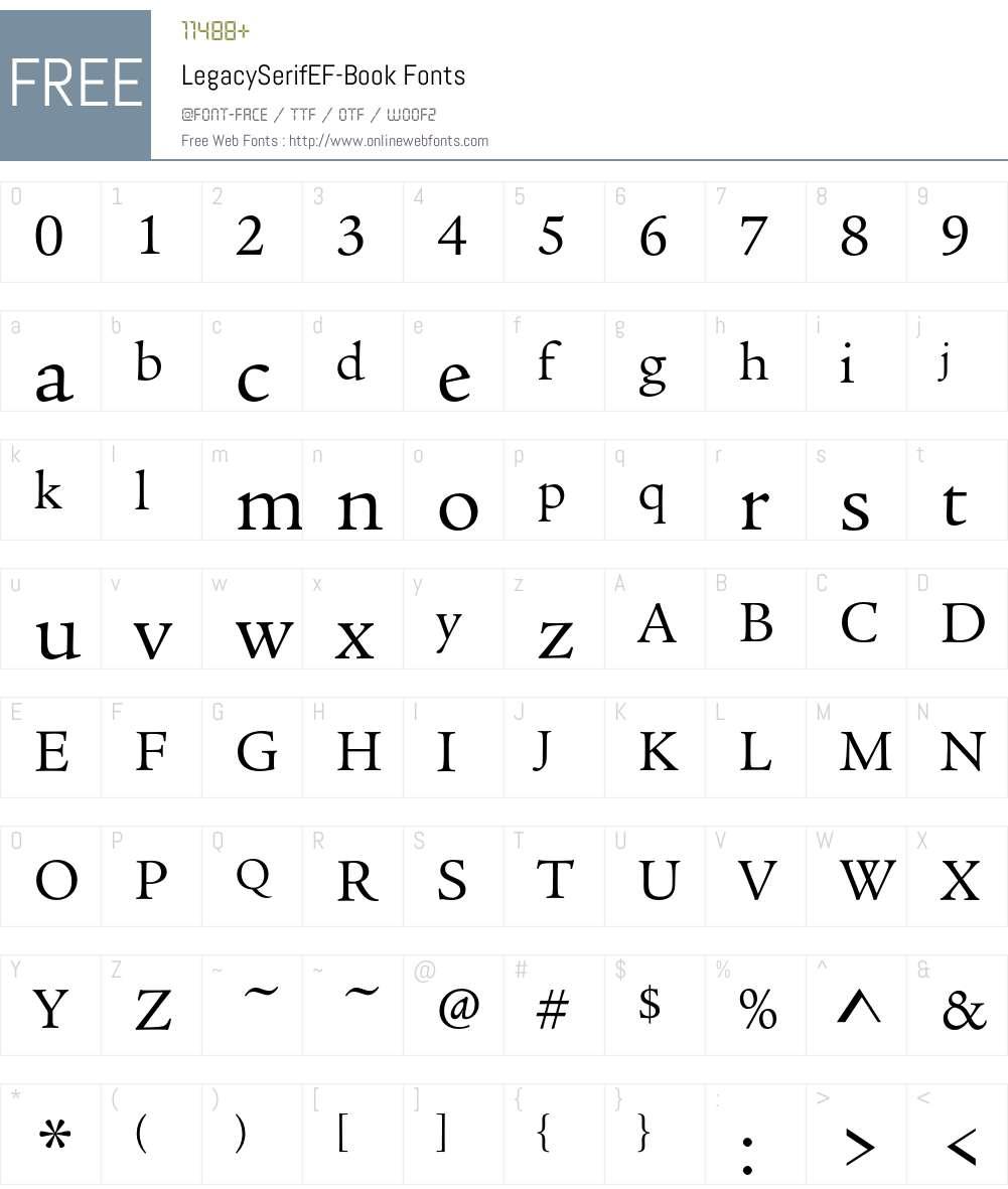 LegacySerifEF Font Screenshots