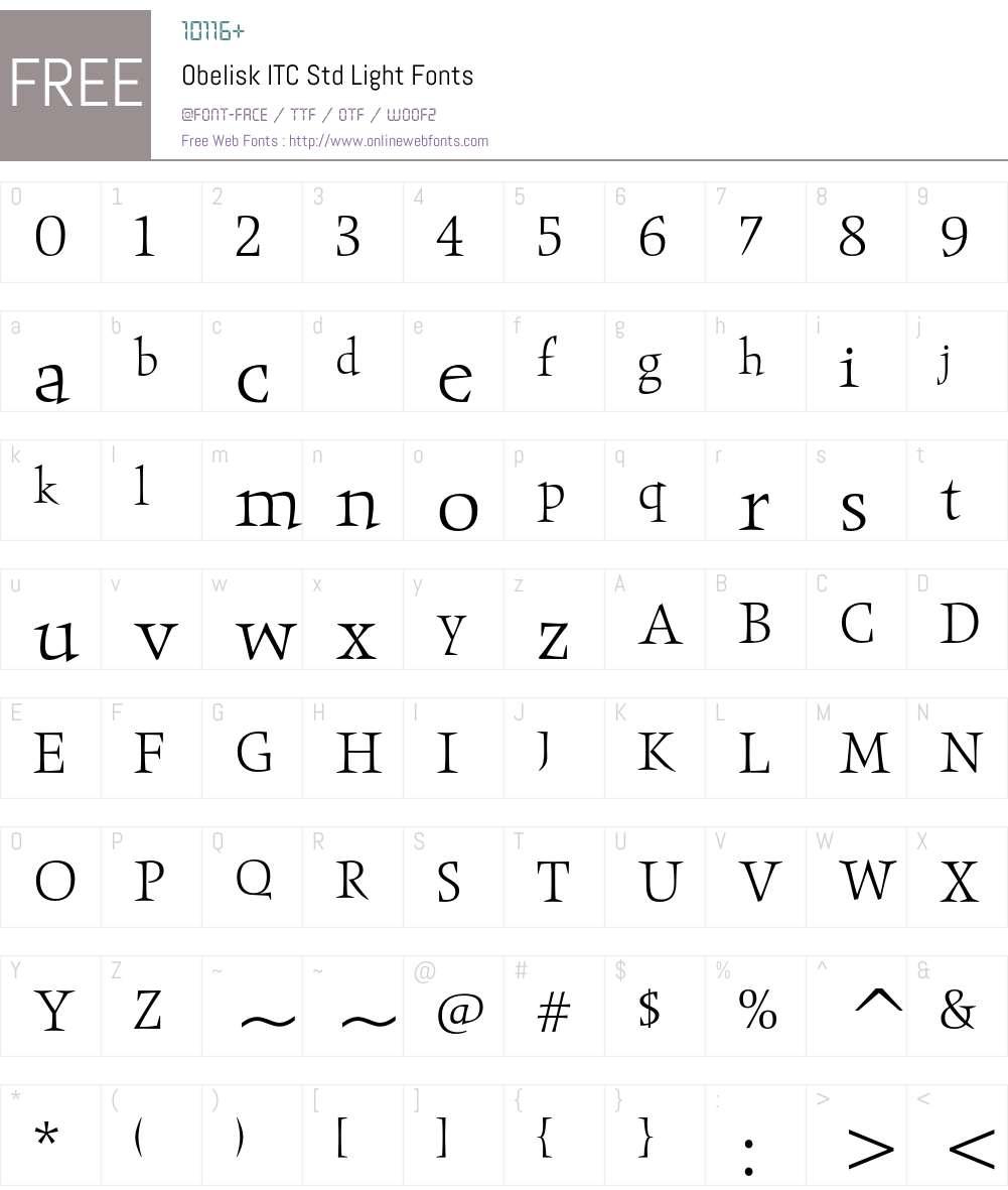 Obelisk ITC Std Font Screenshots