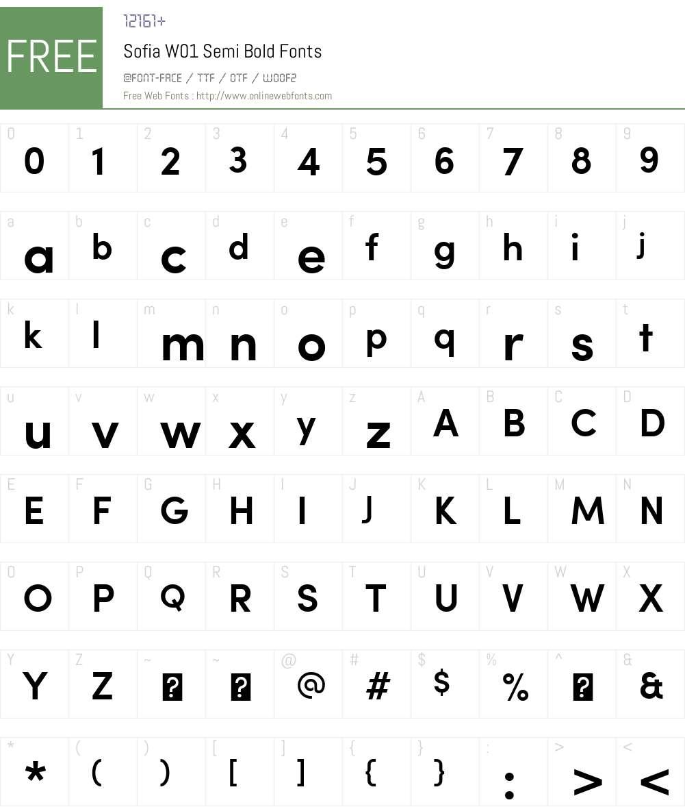 SofiaW01-SemiBold Font Screenshots