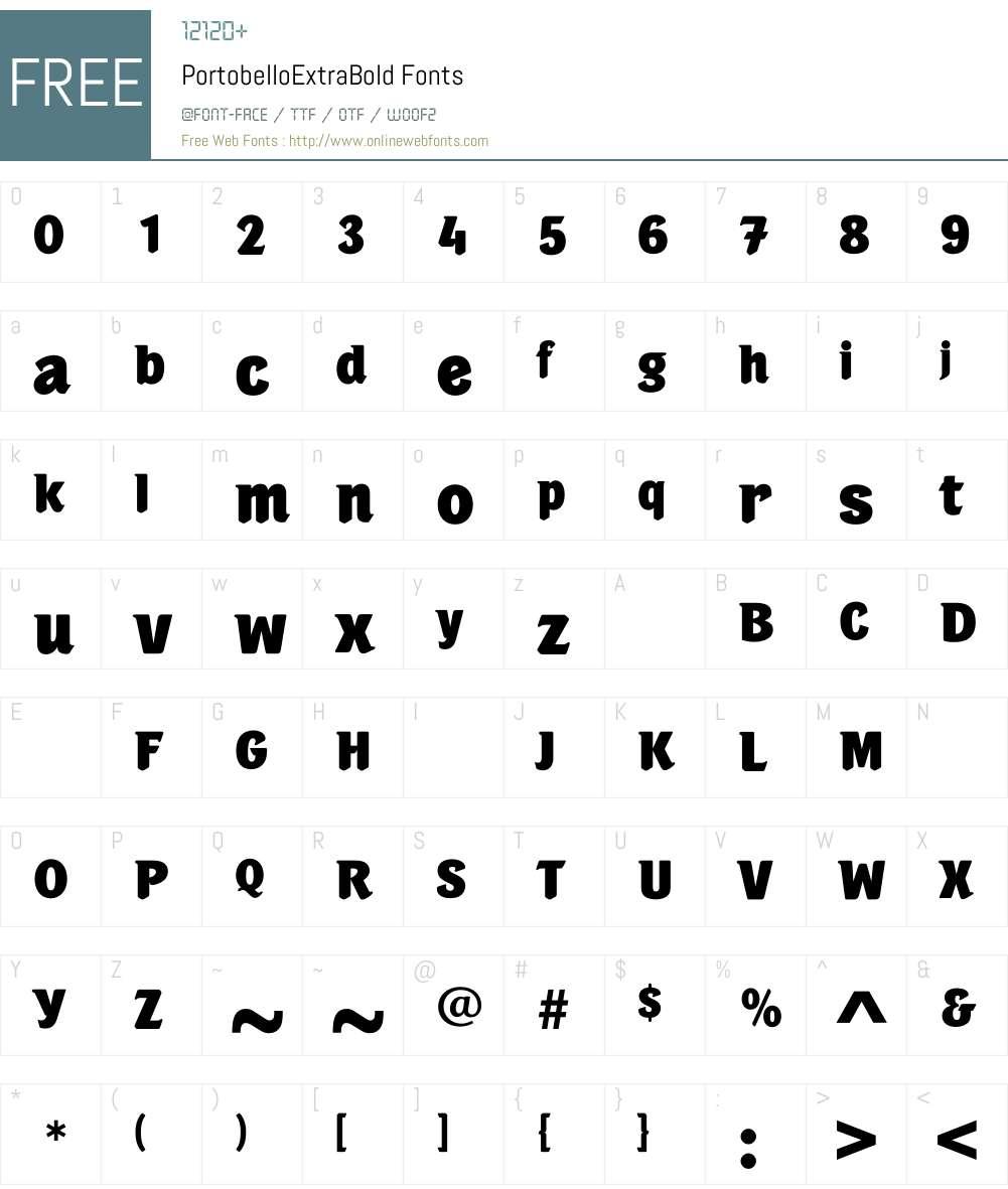 PortobelloExtraBold Font Screenshots