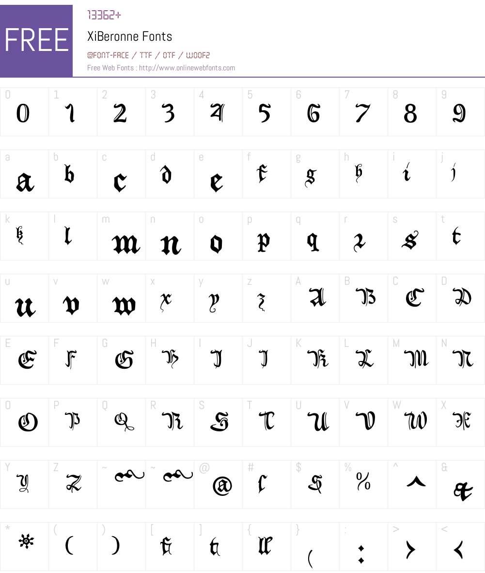 XiBeronne Font Screenshots
