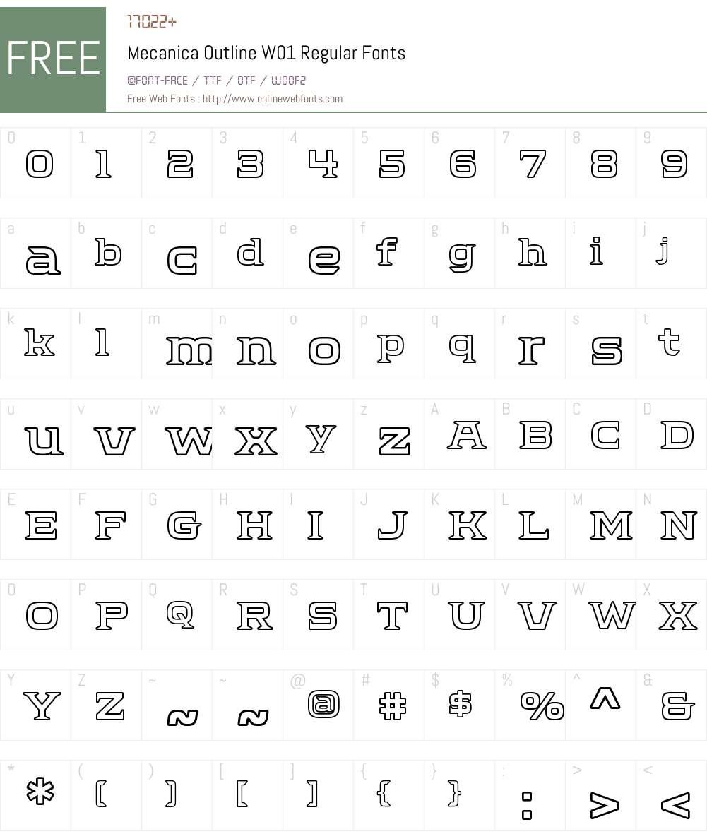 MecanicaOutlineW01-Regular Font Screenshots