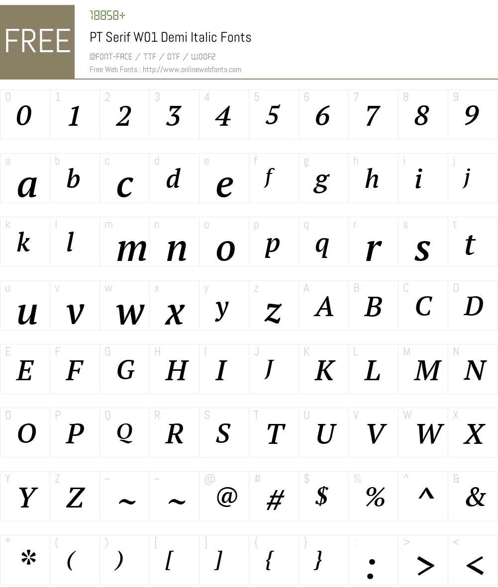 PTSerifW01-DemiItalic Font Screenshots