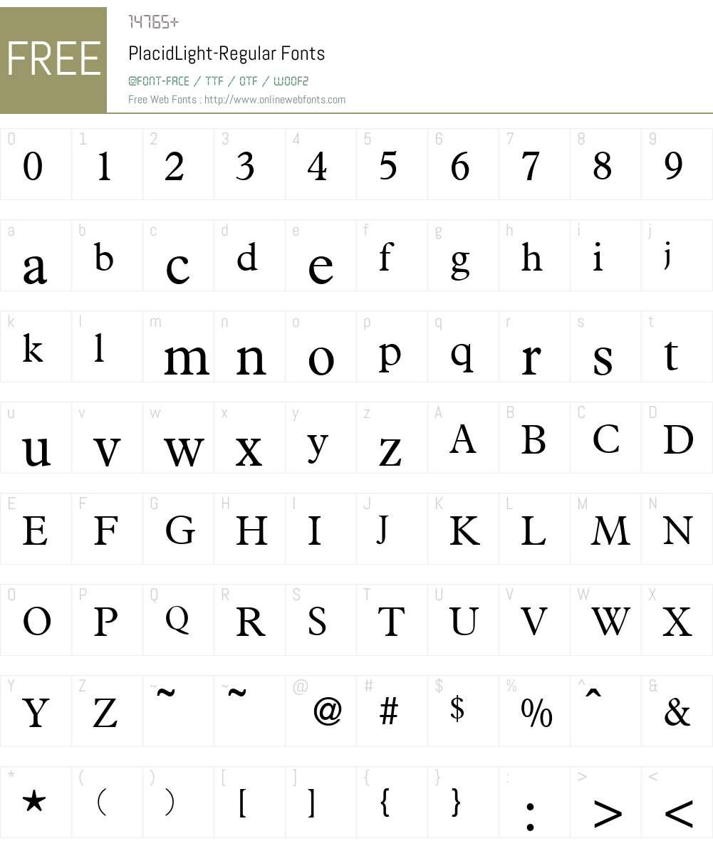 PlacidLight Font Screenshots