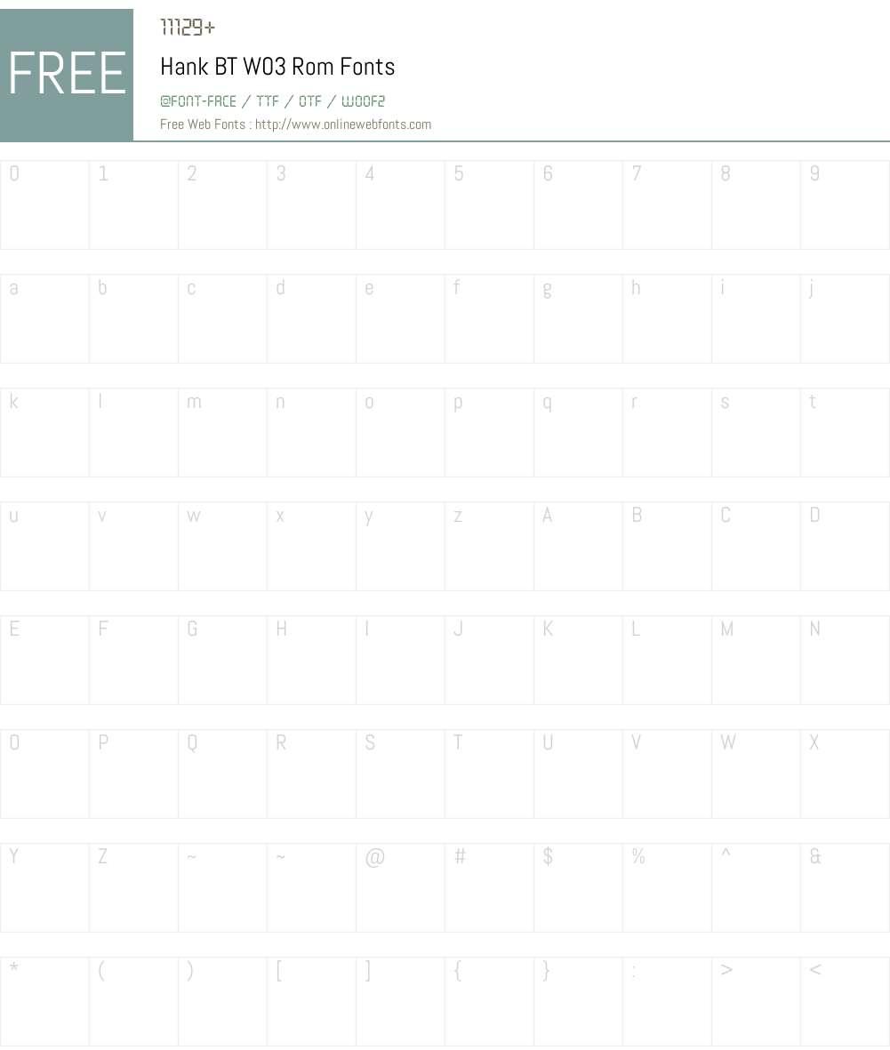 Hank BT Font Screenshots