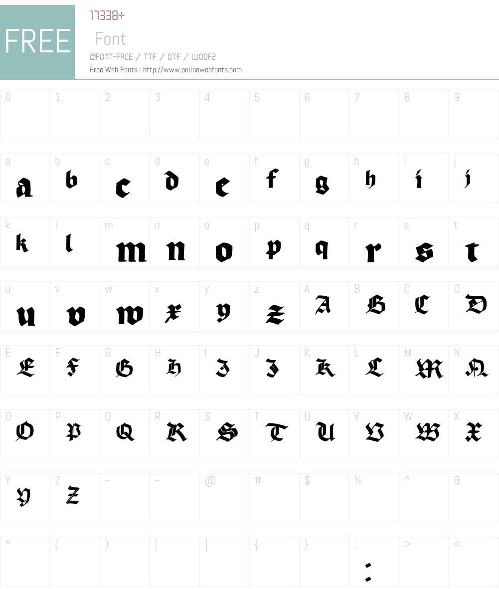 Korger Gothic Font Screenshots