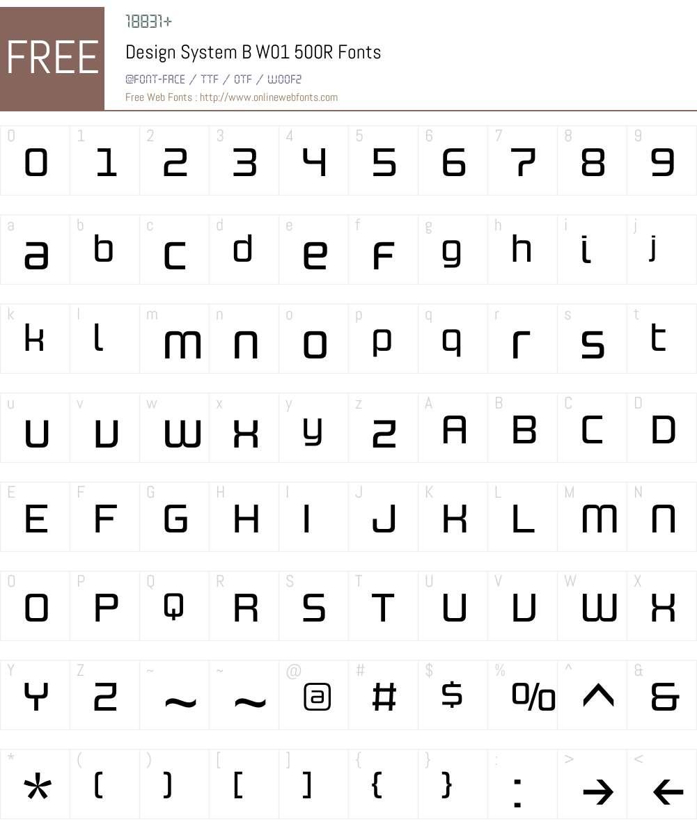 DesignSystemBW01-500R Font Screenshots