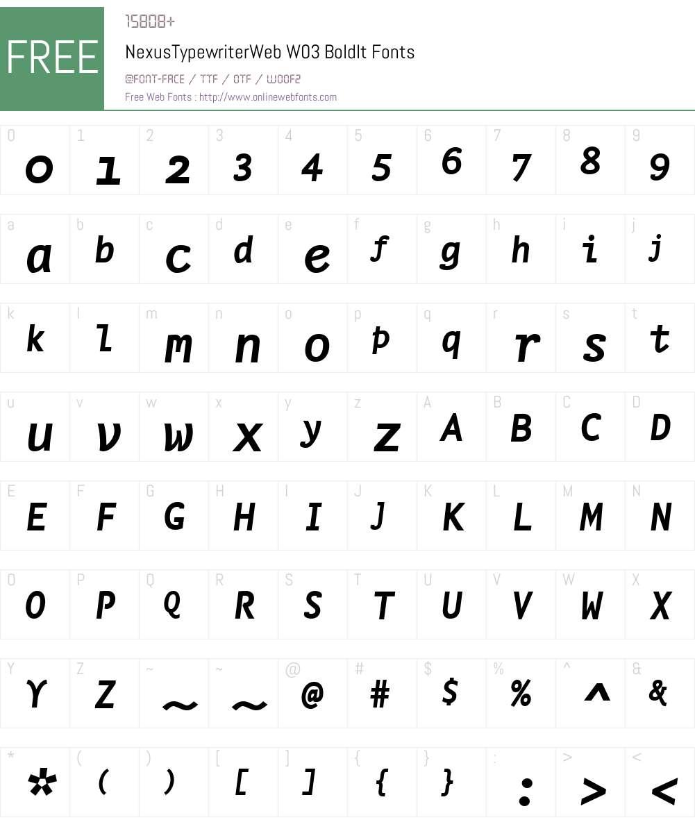 FF Nexus Typewriter Font Screenshots