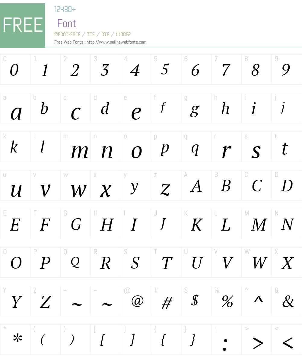 PTSerifW01-BookItalic Font Screenshots