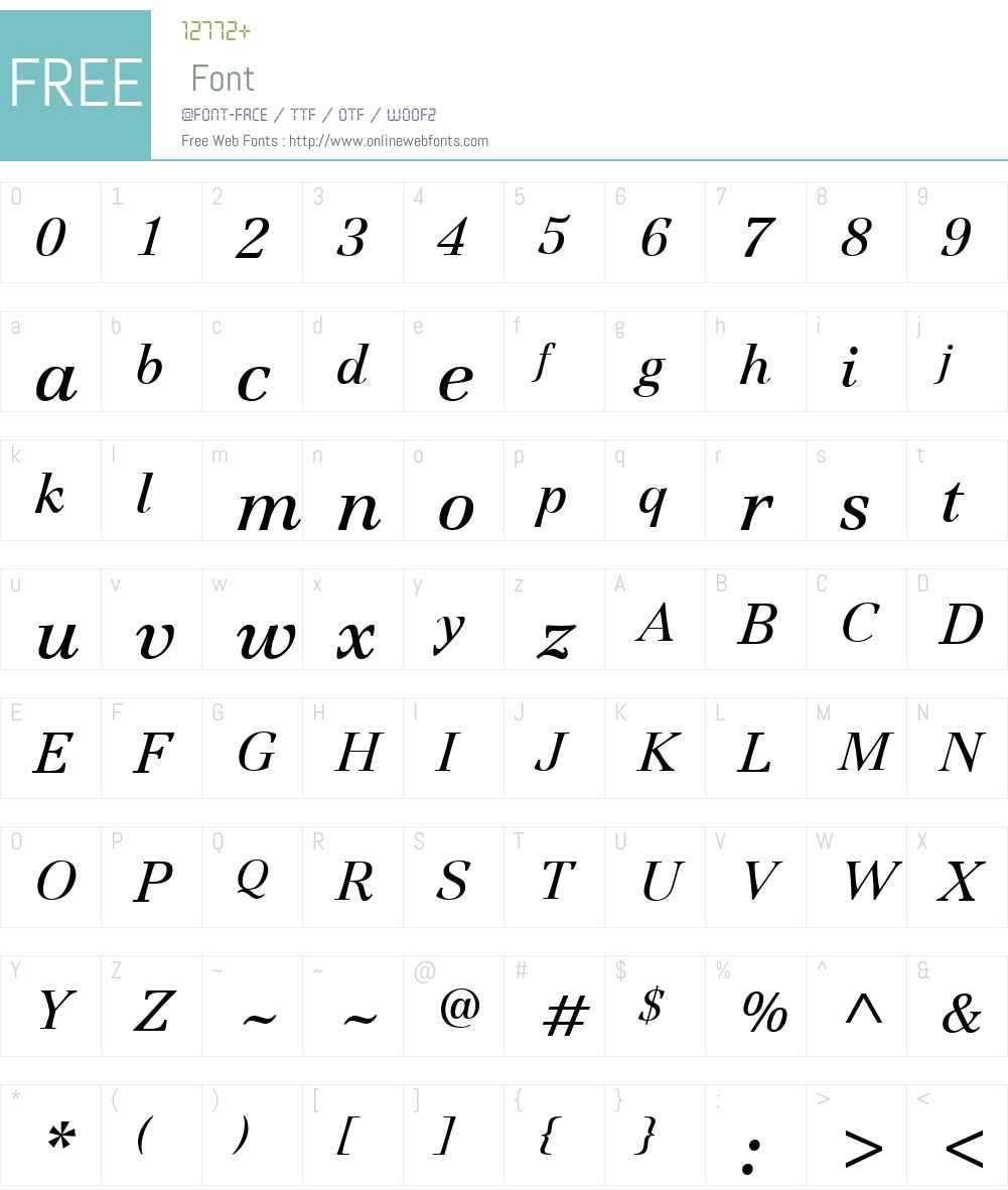 ITCJamilleW01-BookItalic Font Screenshots