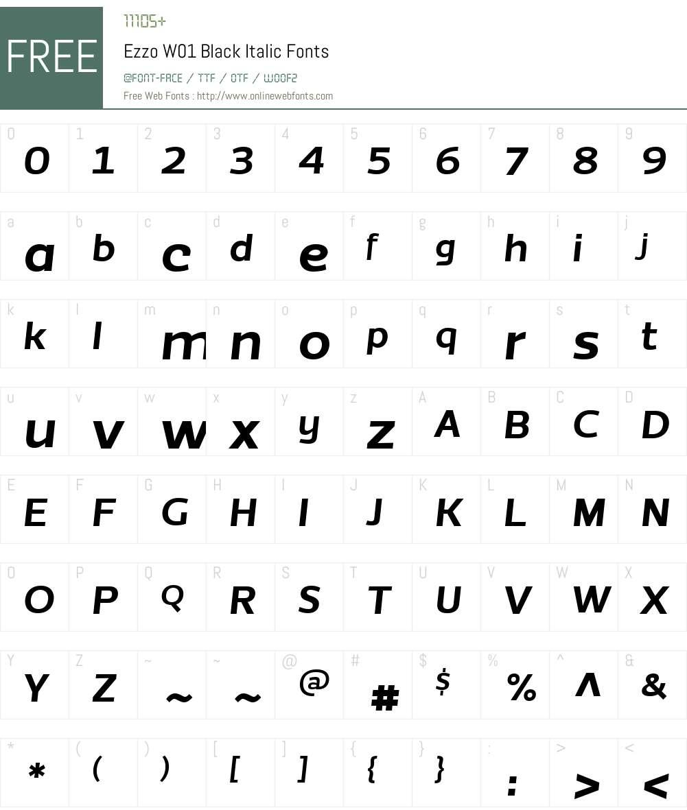 EzzoW01-BlackItalic Font Screenshots
