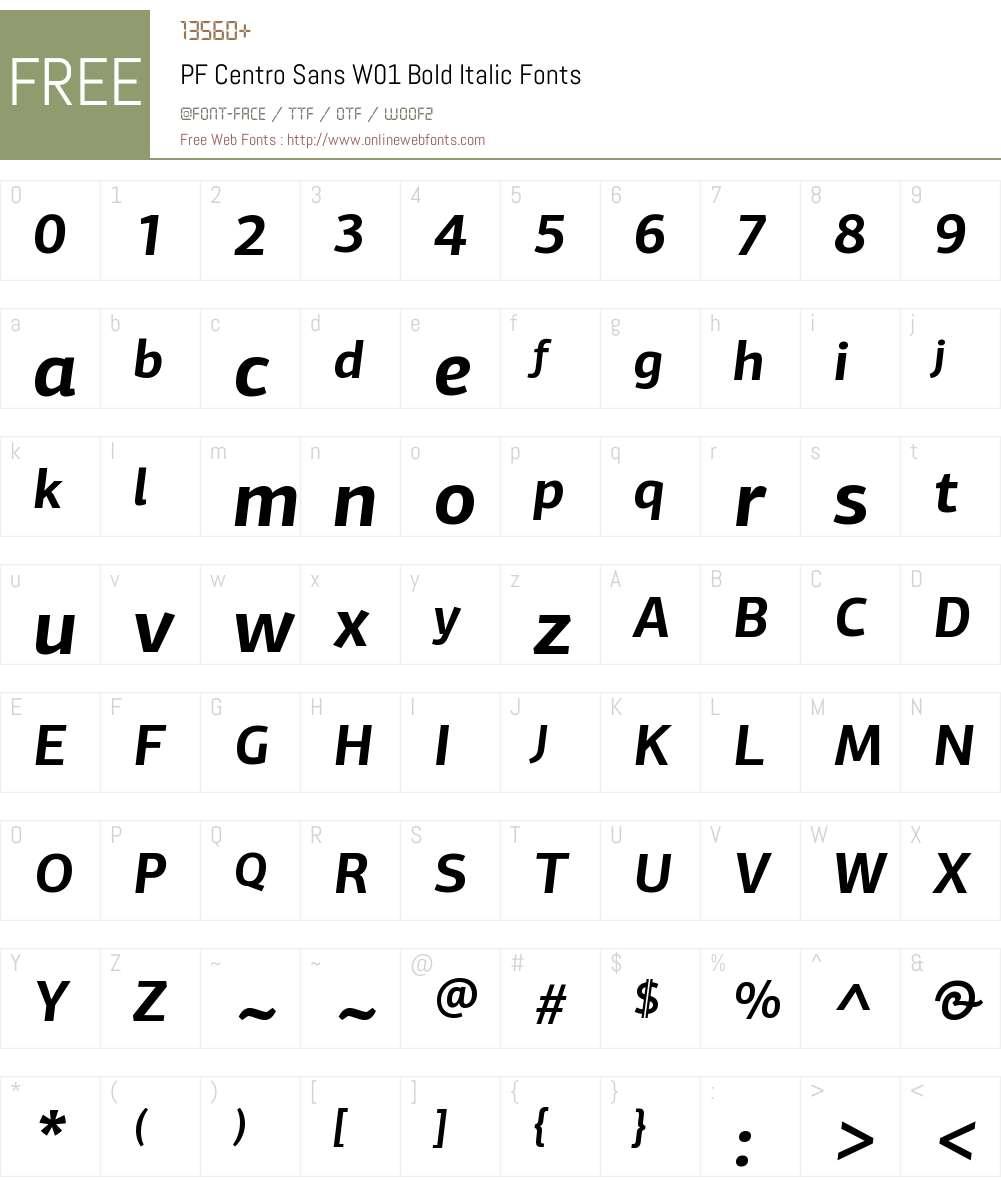 PFCentroSansW01-BoldItalic Font Screenshots