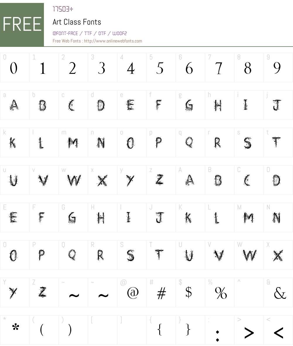 Art Class Font Screenshots
