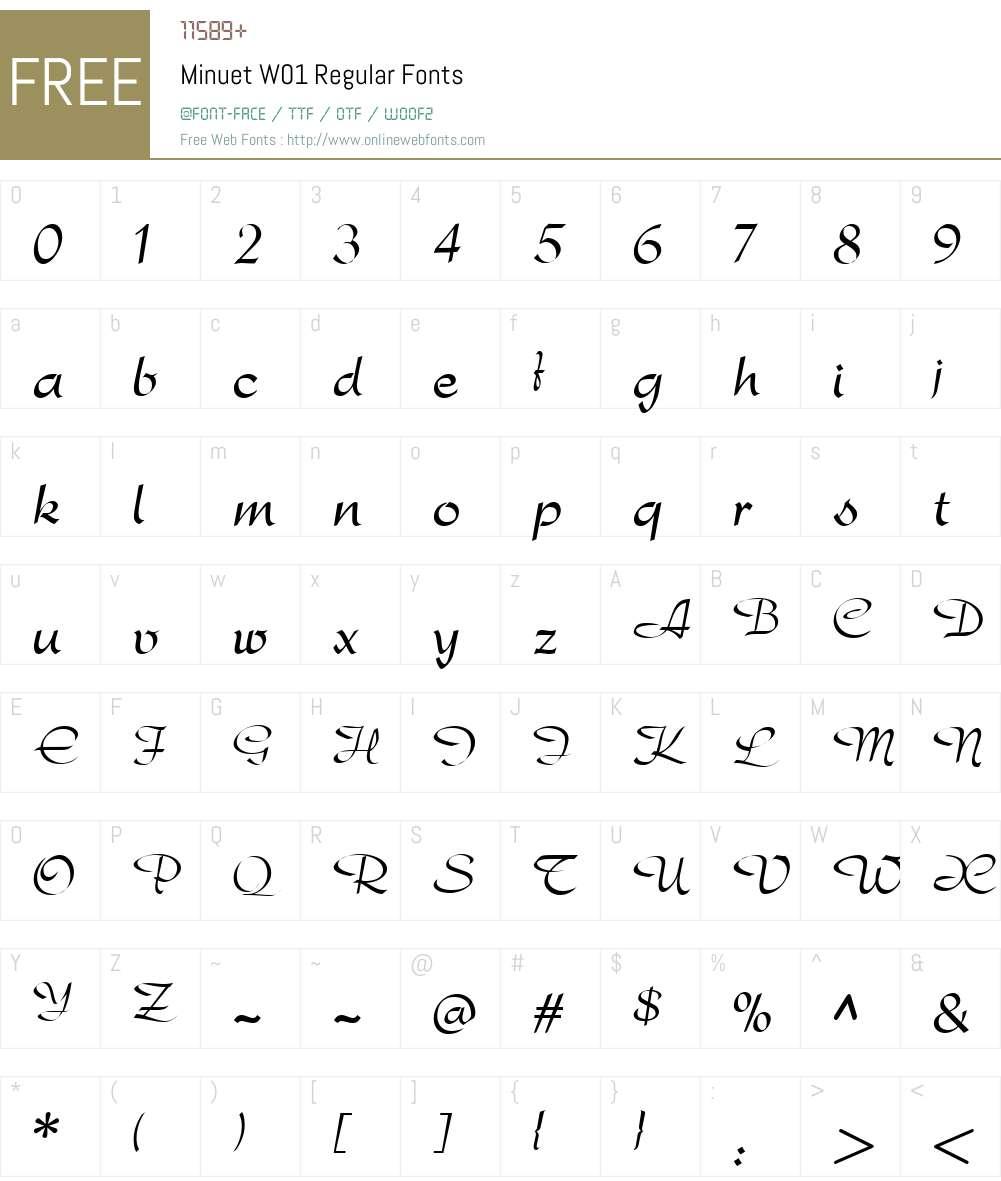 MinuetW01-Regular Font Screenshots