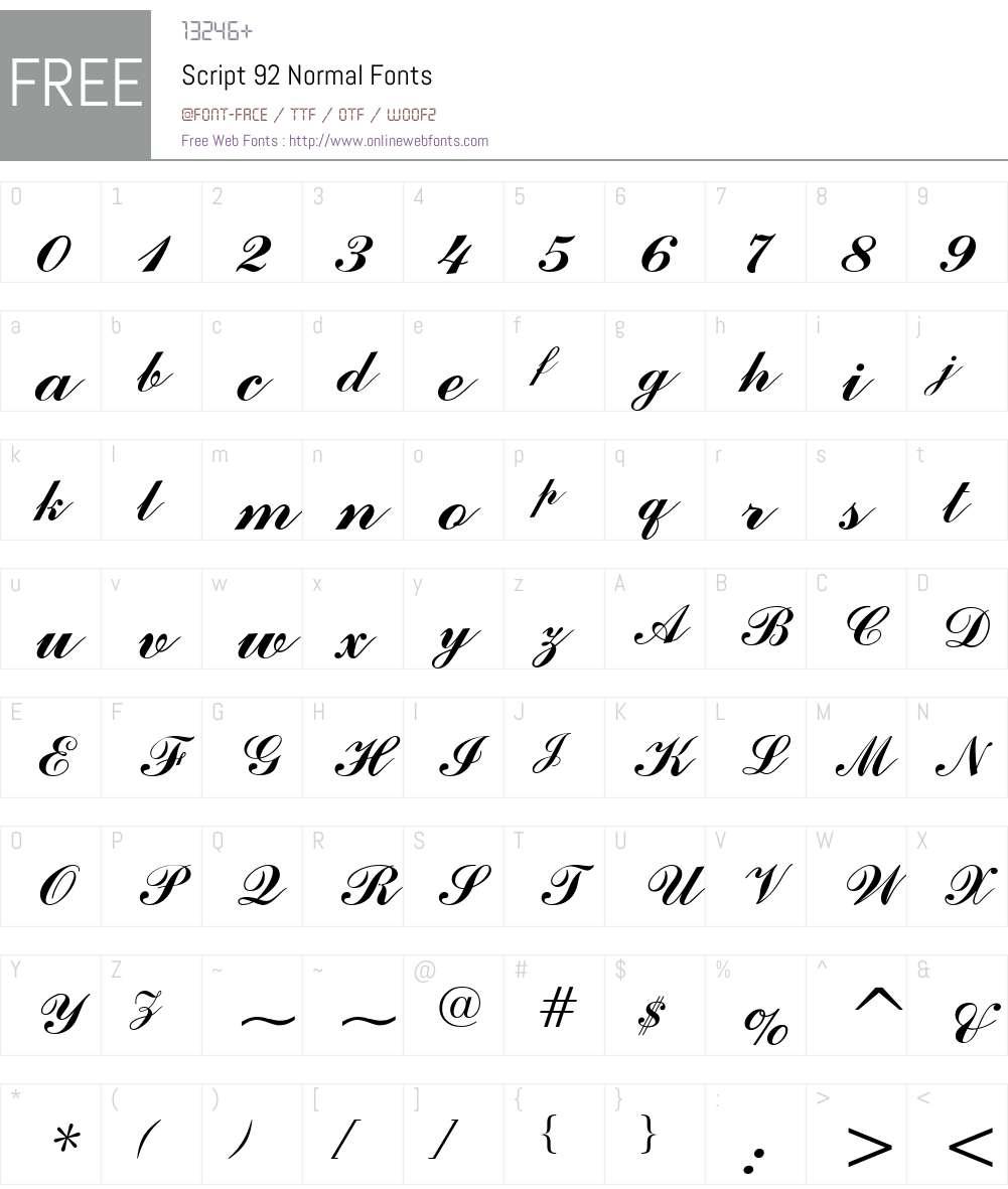 Script 92 Font Screenshots