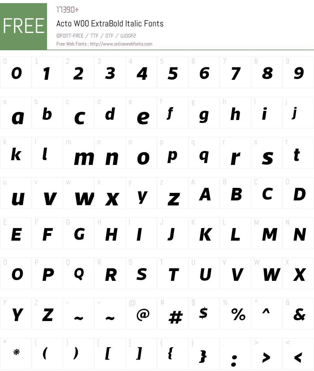 ActoW00-ExtraBoldItalic Font Screenshots