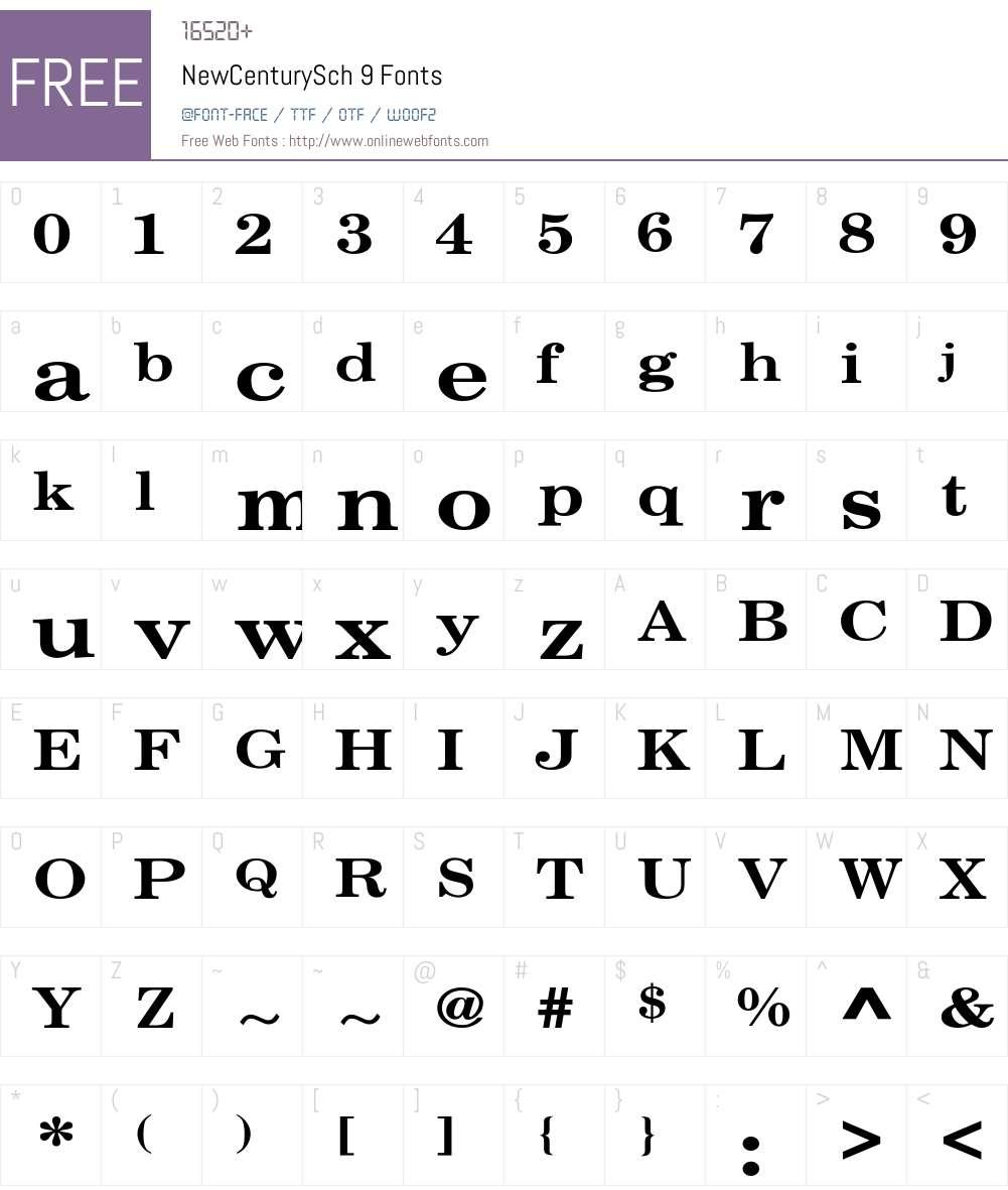 NewCenturySch 9 Font Screenshots