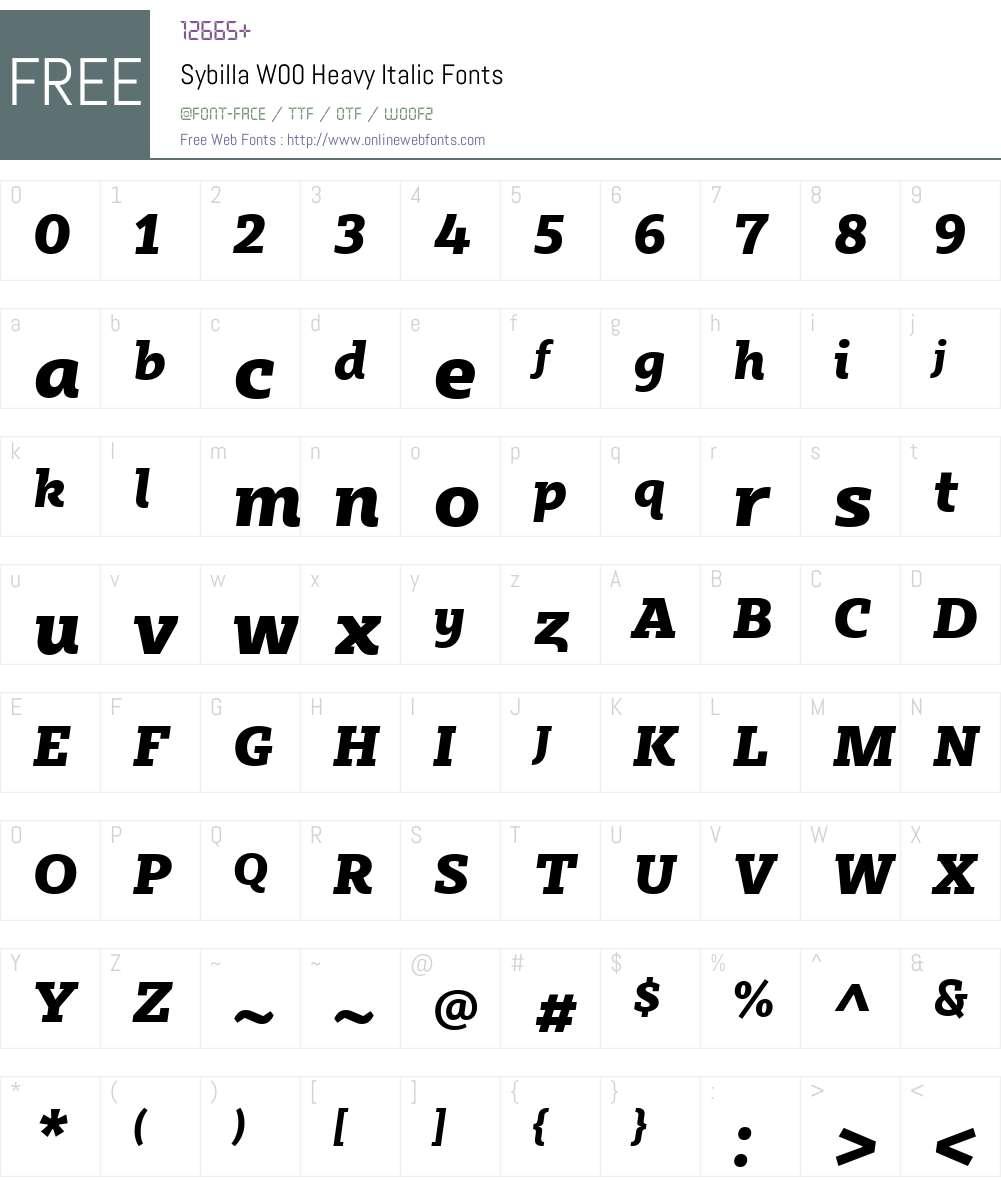SybillaW00-HeavyItalic Font Screenshots