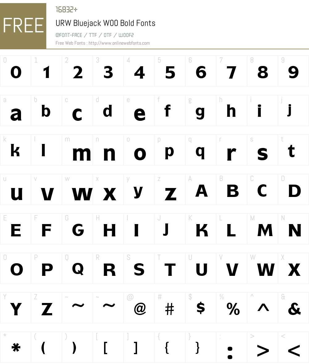 URWBluejackW00-Bold Font Screenshots