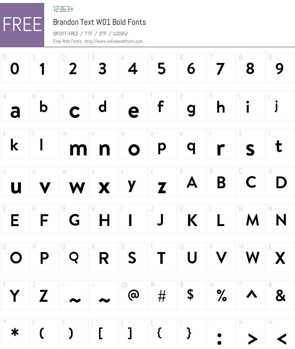 BrandonTextW01-Bold Font Screenshots