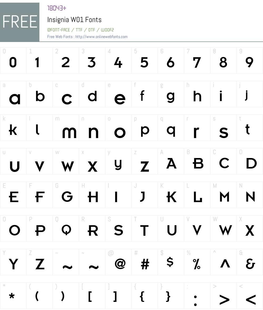 InsigniaW01 Font Screenshots