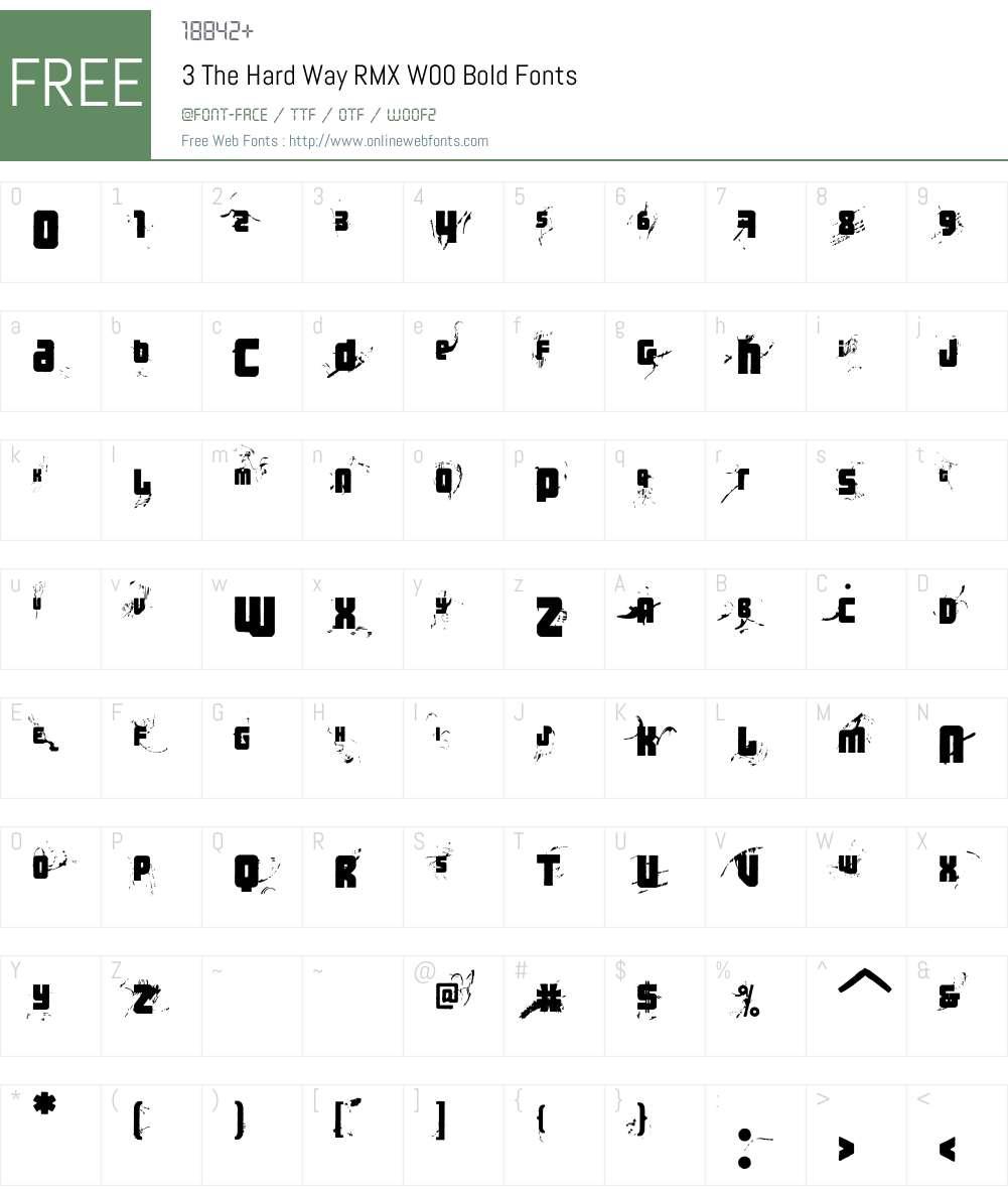 3TheHardWayRMXW00-Bold Font Screenshots