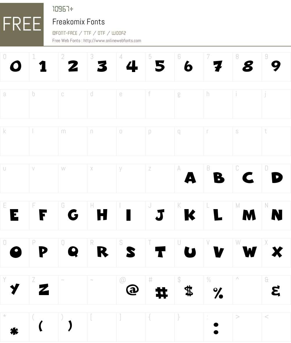 Freakomix Font Screenshots