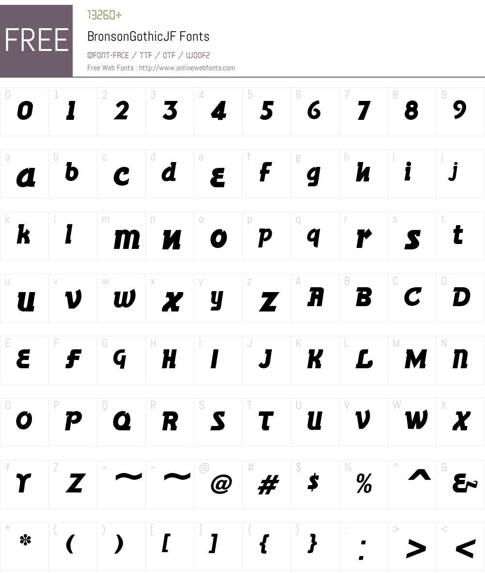 BronsonGothicJF Font Screenshots