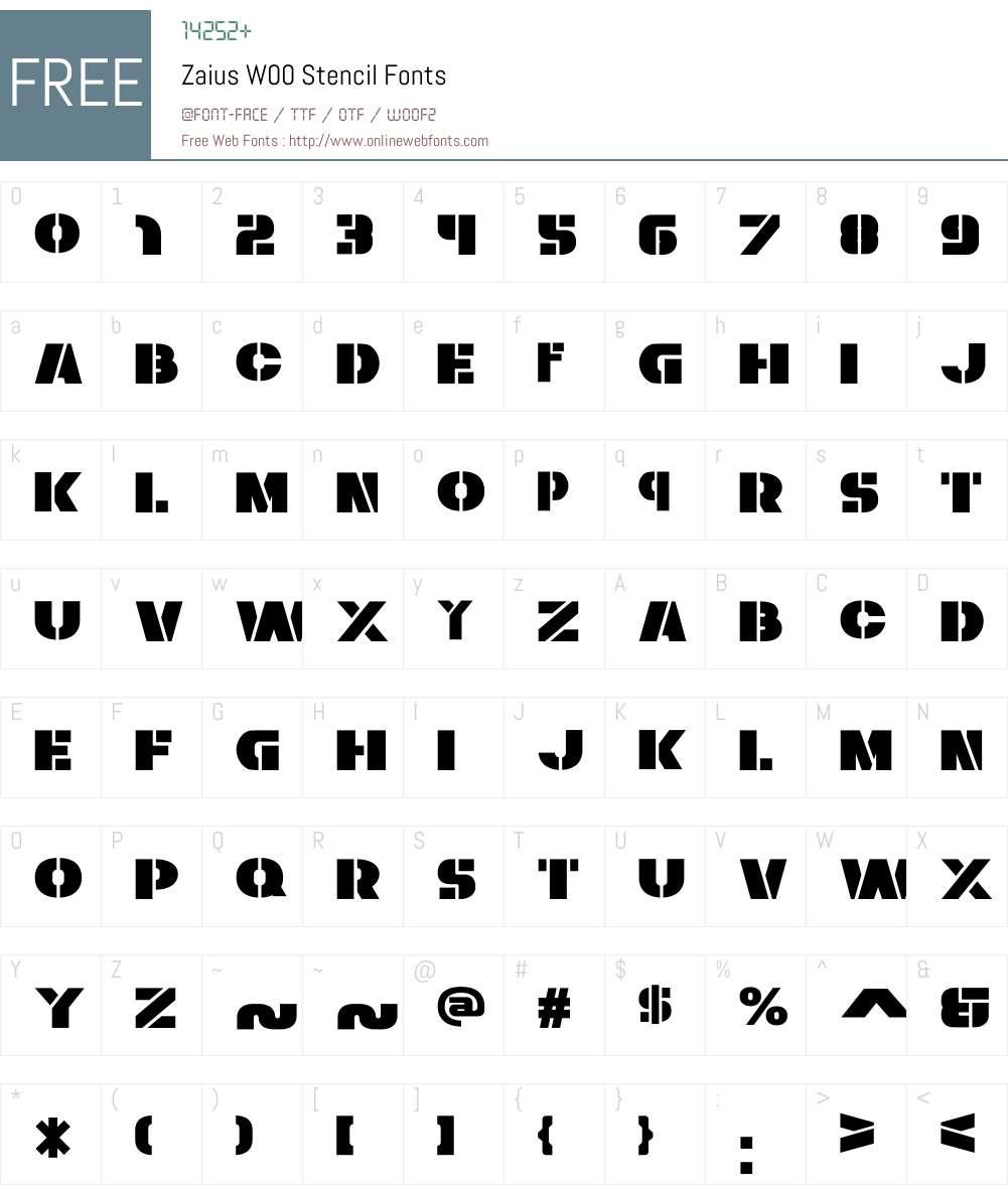 ZaiusW00-Stencil Font Screenshots