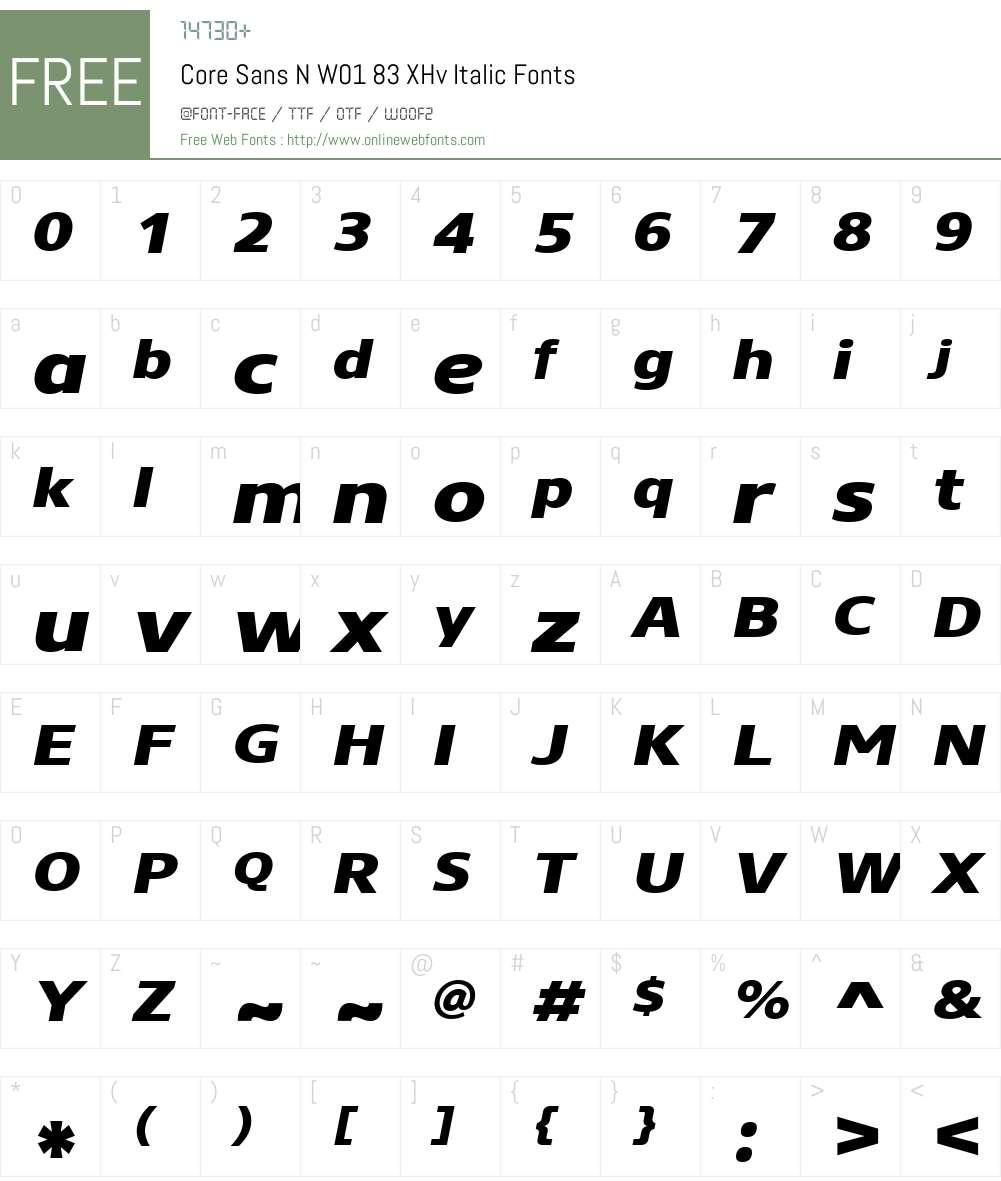 CoreSansNW01-83XHvItalic Font Screenshots