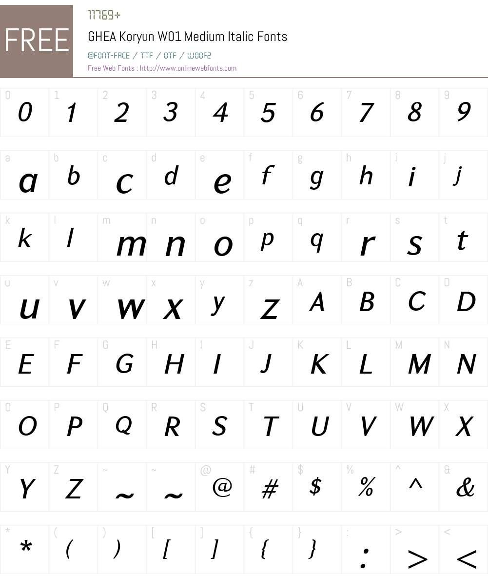 GHEAKoryunW01-MediumItalic Font Screenshots