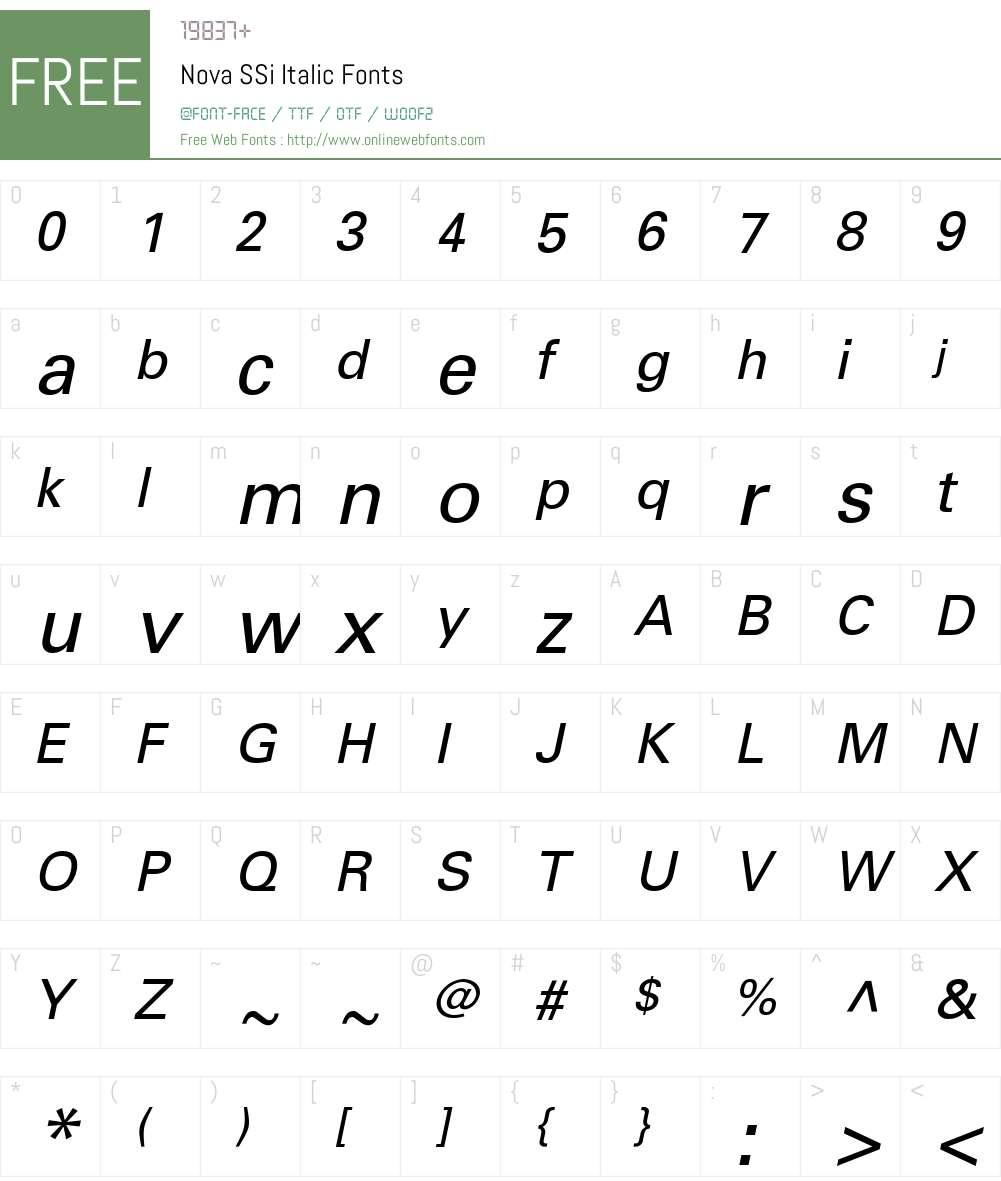 Nova SSi Font Screenshots