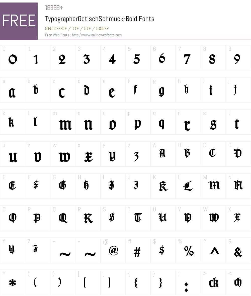 TypographerGotisch Schmuck Font Screenshots