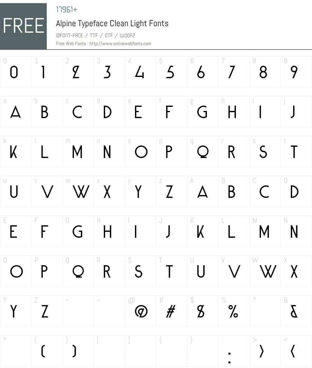 Alpine Typeface Clean Font Screenshots