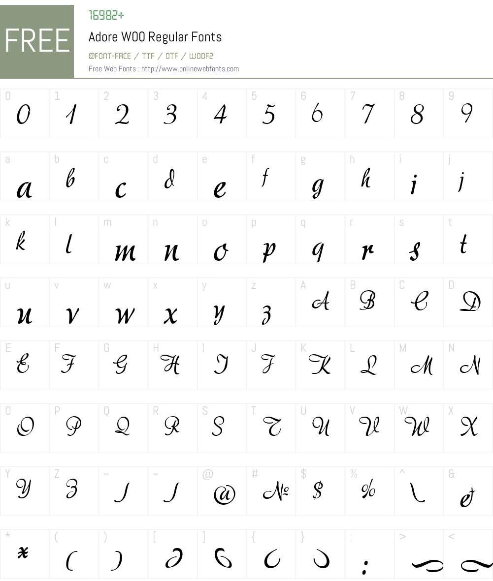 Adore Font Screenshots