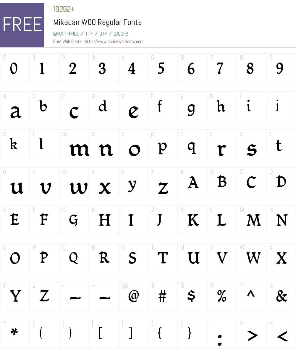 MikadanW00-Regular Font Screenshots