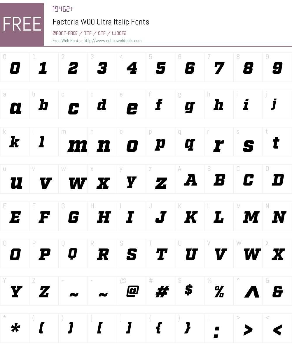 FactoriaW00-UltraItalic Font Screenshots